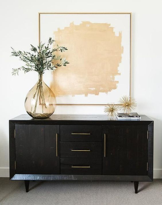 @ondesigninteriors living room inspiration trend contemporary console art mirrors vintage contemporary white neutrals black