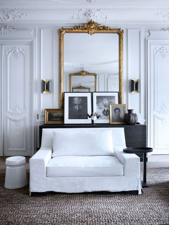 @ondesigninteriors living room inspiration trend contemporary mirrors vintage contemporary white neutrals black