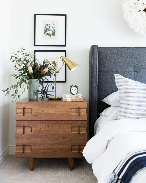 @ondesigninteriors blog studio bedroom design contemporary Scandinavian plants nature lover interiors mirrors lamps wood furniture white home trend 2018 blue art wall artista