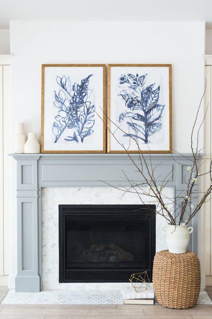 @ondesigninteriors blog studio fireplace design contemporary Scandinavian plants nature lover interiors mirrors lamps wood furniture white home trend 2018 blue art wall artista